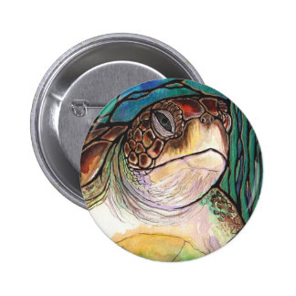 Gorgeous Sea Turtle Stained Glass Style Art 2 Inch Round Button