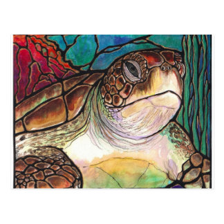 Gorgeous Sea Turtle Stained Glass Style Art Postcard