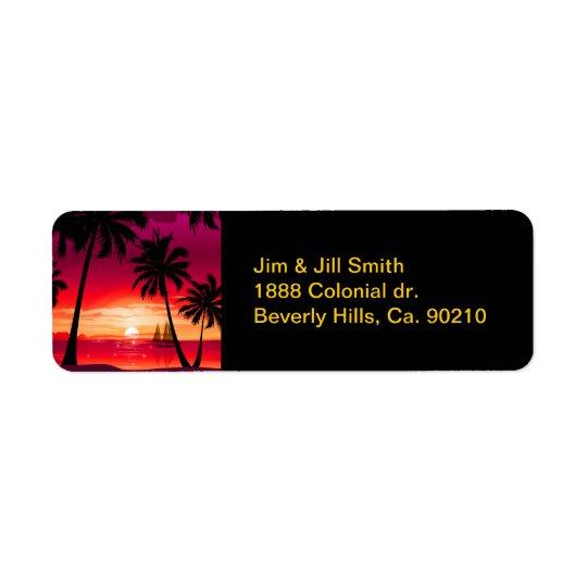 Gorgeous Shimmery Island Sunset & Sailboat Return Address Label