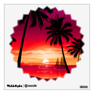Gorgeous Shimmery Island Sunset & Sailboat Wall Decal