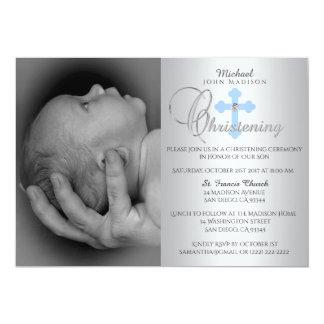 Gorgeous Silver Blue Cross Boy PHOTO Christening Card