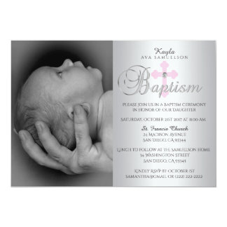 Gorgeous Silver Pink Cross Girl PHOTO Baptism Card