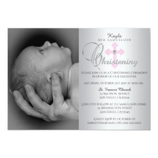 Gorgeous Silver Pink Cross Girl PHOTO Christening Card