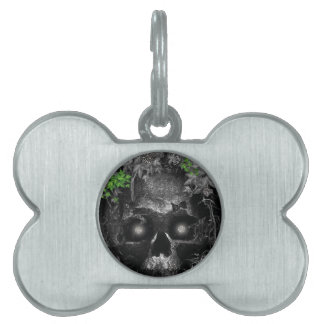 Gorgeous Silverlight Skull Design Pet Tag