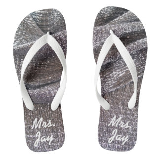 Gorgeous Sparkly Faux Silver Glitter Wedding Mrs. Flip Flops