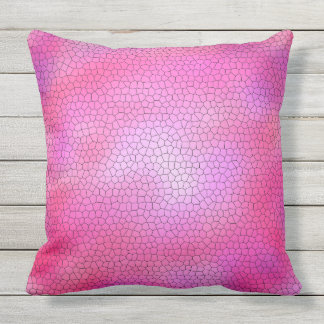 Gorgeous Stained Glass Mosaic Pattern Fuchsia Throw Pillow