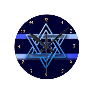 Gorgeous Star of David On blue Background jewish Round Clock