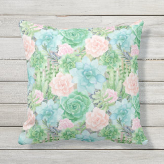 Gorgeous Succulents | Watercolor Painted | Square Throw Pillow