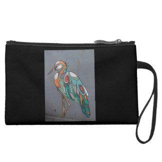 Gorgeous suede purse with mosaic crane wristlets