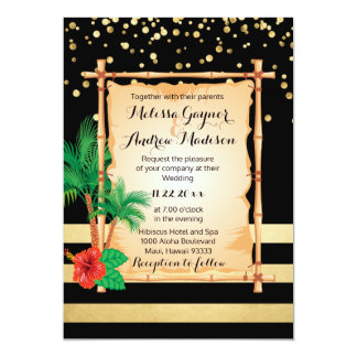 Gorgeous Tropical Beach Palms Black Gold Wedding Card
