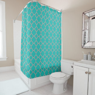 Gorgeous Turquoise and Gray Quatrefoil Pattern
