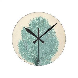 Gorgeous Turquoise/Aqua Coral Round Clock