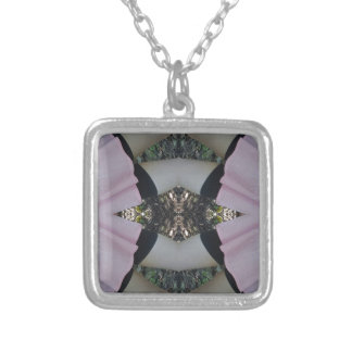 Gorgeous uncommon Lavender Black Pattern Silver Plated Necklace