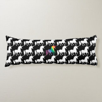 Gorgeous Unicorn Rainbow Black & White Pattern Body Pillow