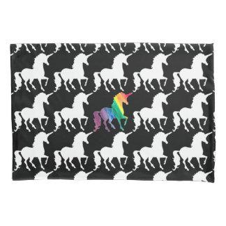 Gorgeous Unicorn Rainbow Black & White Pattern Pillowcase