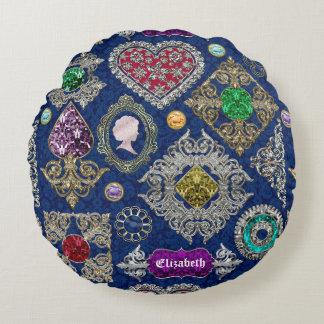 Gorgeous Victorian Jewelry Brooch Gemstone Collage Round Pillow