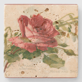 Gorgeous Victorian Red Rose Stone Coaster