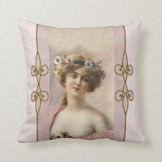 Gorgeous Victorian Woman with Art Nouveau Ornament Throw Pillow
