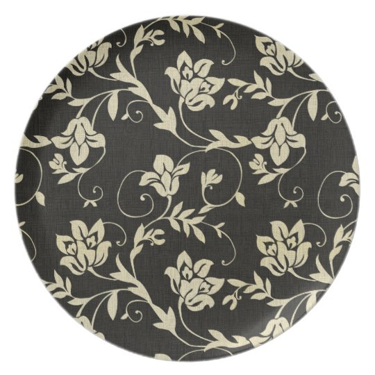 Gorgeous Vintage Black and Cream Floral, Damask Plate