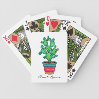 Gorgeous Watercolor Cactus In Beautiful Pot Bicycle Playing Cards