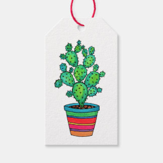 Gorgeous Watercolor Cactus In Beautiful Pot Gift Tags