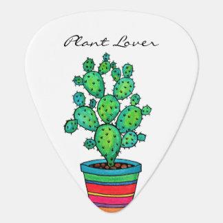 Gorgeous Watercolor Cactus In Beautiful Pot Guitar Pick