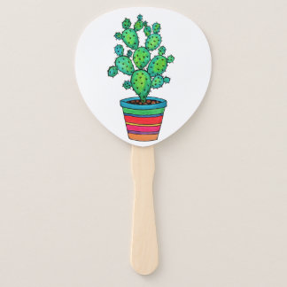 Gorgeous Watercolor Cactus In Beautiful Pot Hand Fan