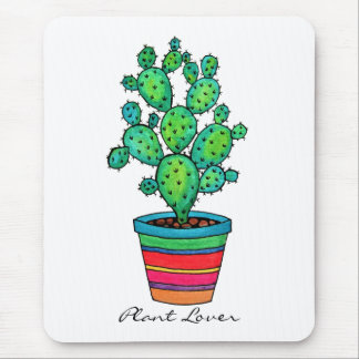 Gorgeous Watercolor Cactus In Beautiful Pot Mouse Pad