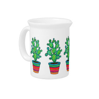 Gorgeous Watercolor Cactus In Beautiful Pot Pitcher