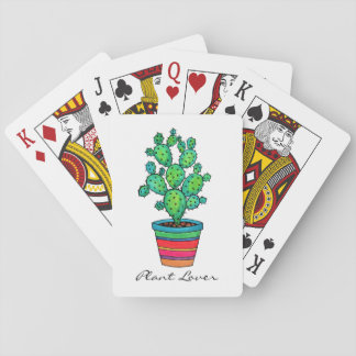 Gorgeous Watercolor Cactus In Beautiful Pot Playing Cards