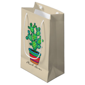 Gorgeous Watercolor Cactus In Beautiful Pot Small Gift Bag