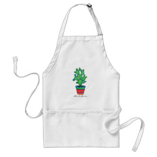 Gorgeous Watercolor Cactus In Beautiful Pot Standard Apron