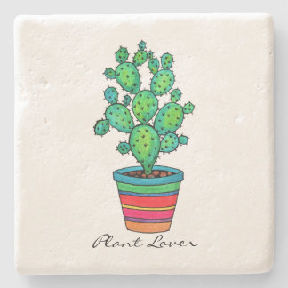 Gorgeous Watercolor Cactus In Beautiful Pot Stone Coaster
