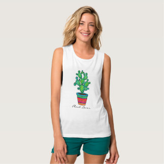 Gorgeous Watercolor Cactus In Beautiful Pot Tank Top