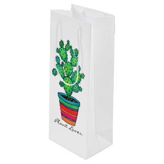 Gorgeous Watercolor Cactus In Beautiful Pot Wine Gift Bag