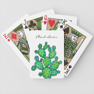 Gorgeous Watercolor Prickly Cactus Bicycle Playing Cards