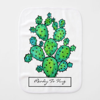 Gorgeous Watercolor Prickly Cactus Burp Cloth