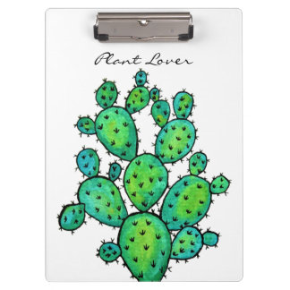 Gorgeous Watercolor Prickly Cactus Clipboard