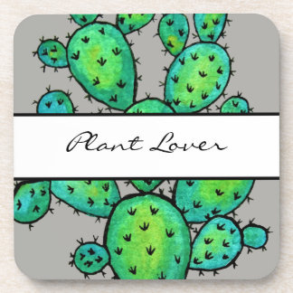 Gorgeous Watercolor Prickly Cactus Coaster