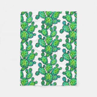 Gorgeous Watercolor Prickly Cactus Fleece Blanket