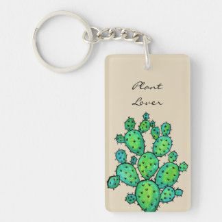 Gorgeous Watercolor Prickly Cactus Keychain