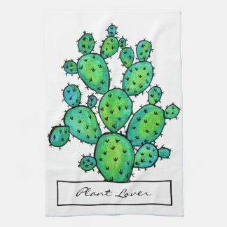 Gorgeous Watercolor Prickly Cactus Kitchen Towel