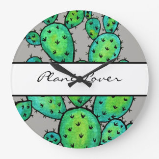 Gorgeous Watercolor Prickly Cactus Large Clock