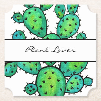 Gorgeous Watercolor Prickly Cactus Paper Coaster