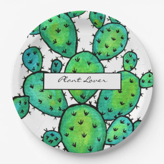 Gorgeous Watercolor Prickly Cactus Paper Plate