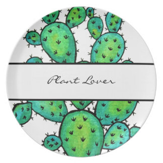 Gorgeous Watercolor Prickly Cactus Plate