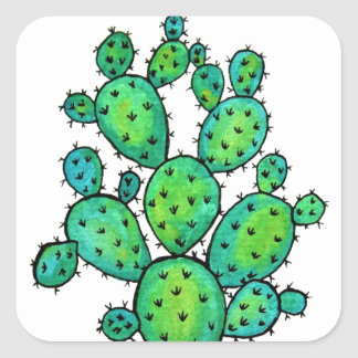 Gorgeous Watercolor Prickly Cactus Square Sticker