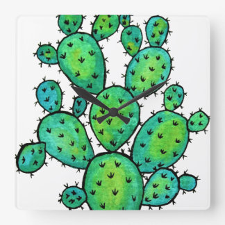 Gorgeous Watercolor Prickly Cactus Square Wall Clock