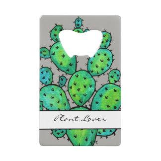 Gorgeous Watercolor Prickly Cactus Wallet Bottle Opener