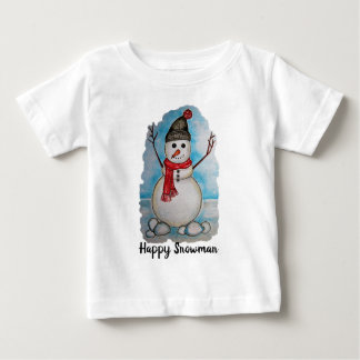 Gorgeous watercolor snowman with scarf and hat baby T-Shirt